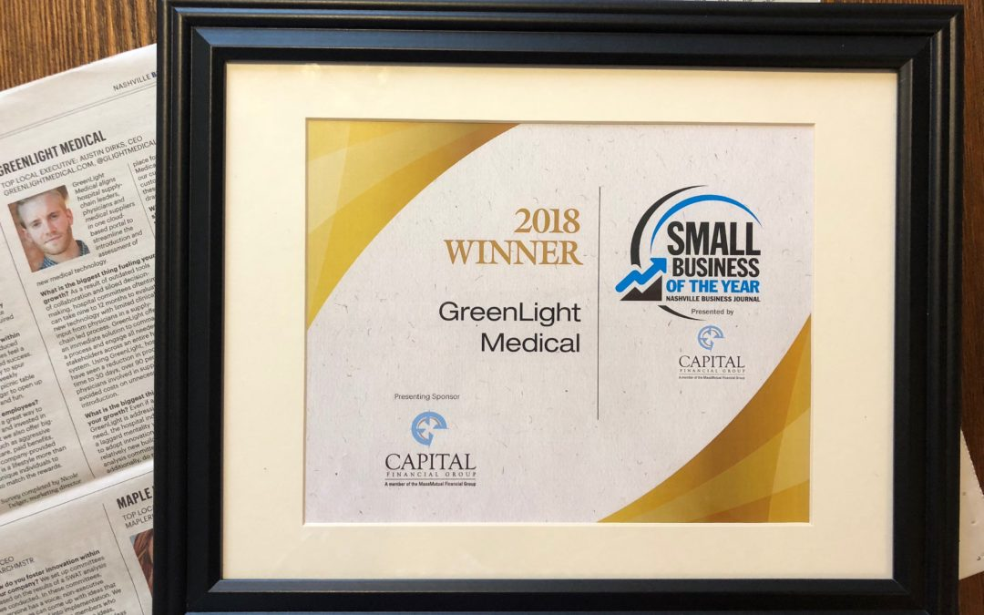 GreenLight Medical selected as 2018 Small Business of the Year!